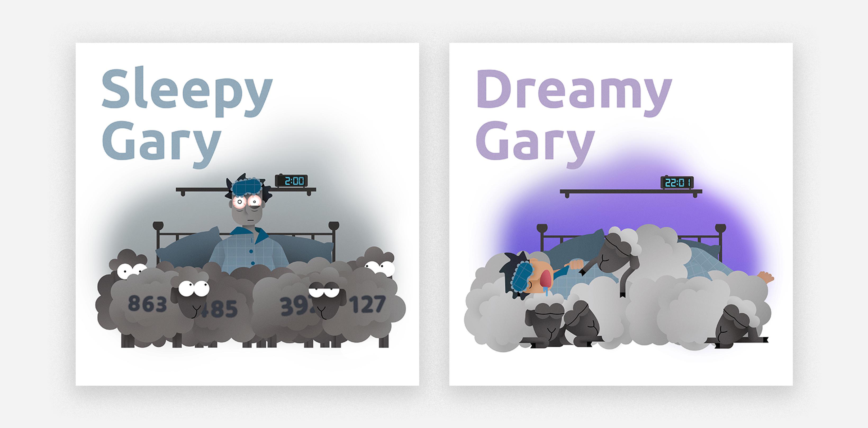 illustration sleepy and dreamy