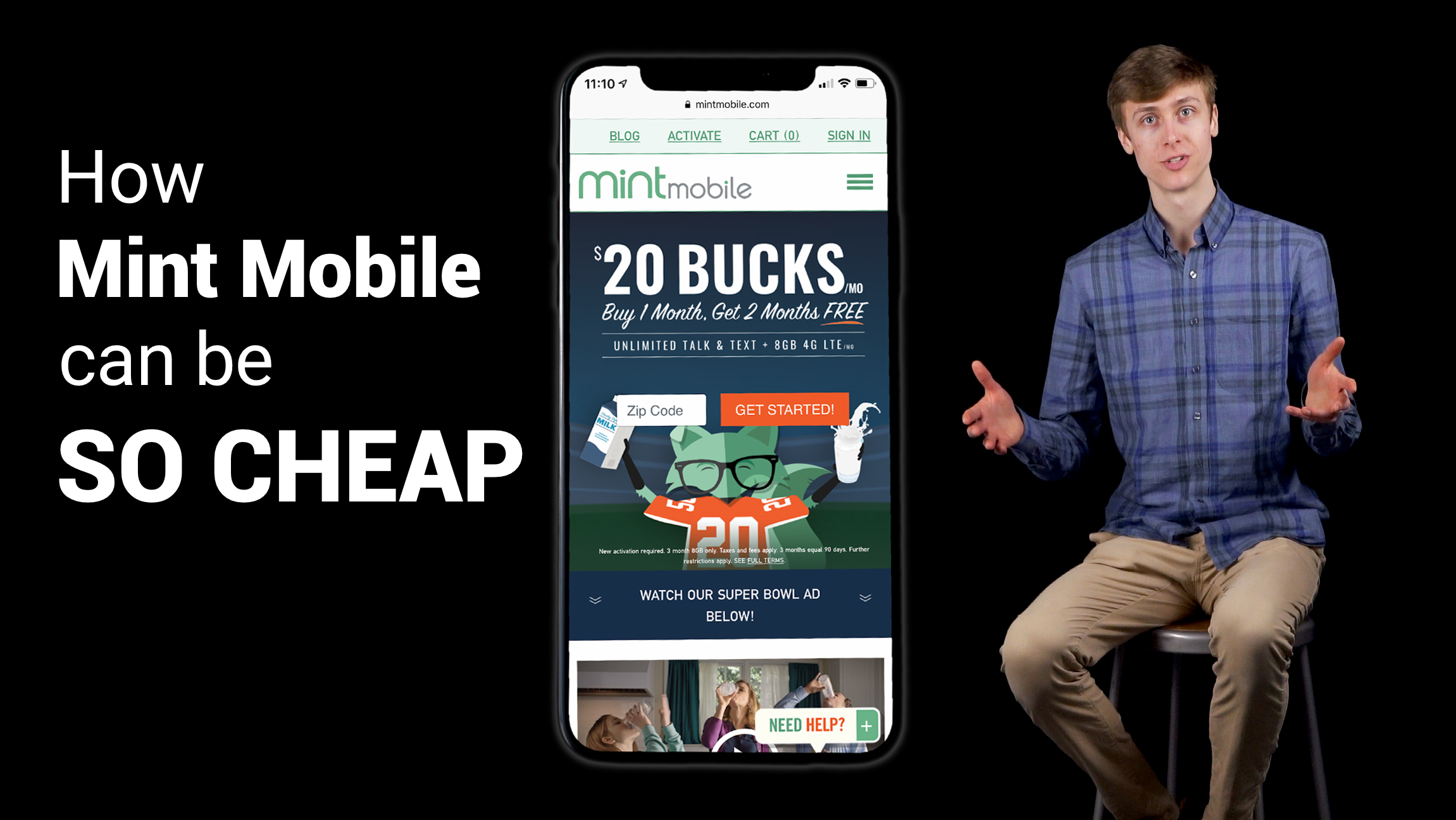 image of iPhone XS on Mint Mobile website with young male sitting to the right of it