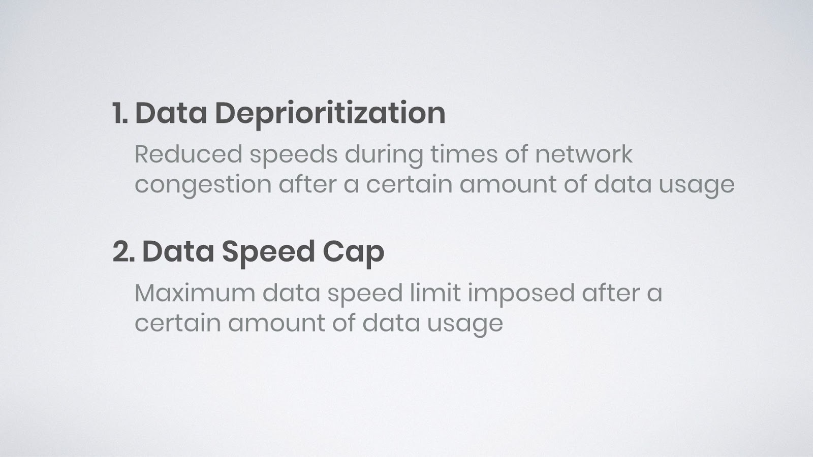 graphic explaining data deprioritization and a data speed cap