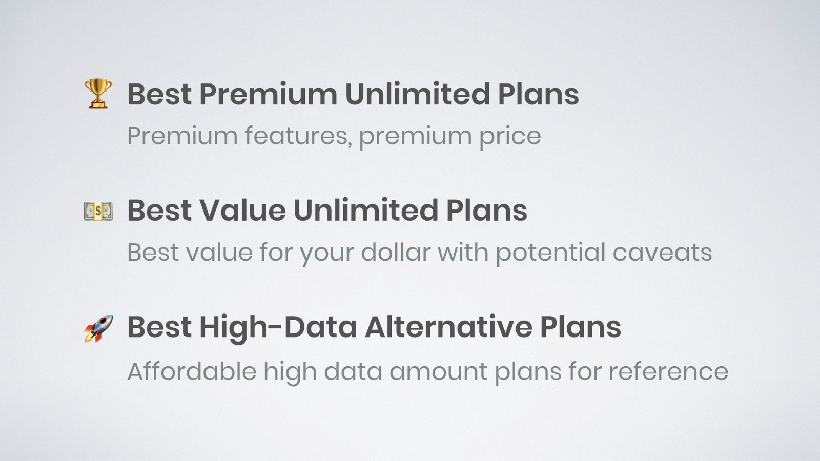 graphic highlighting best premium unlimited data plans, best value unlimited data plans, and best high data amount alternative plans