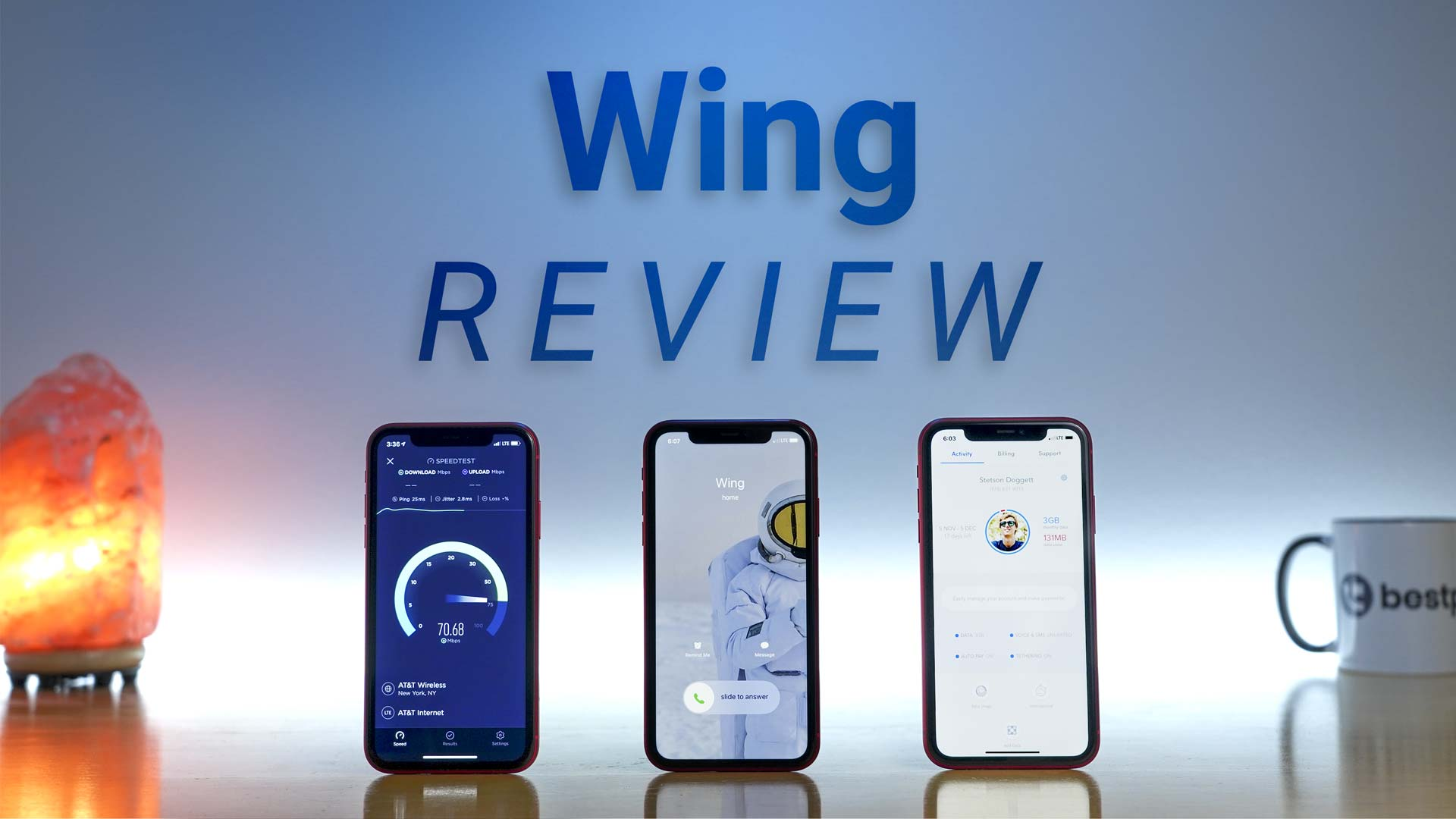 iPhone 11 Pro running cellular data speed test next to an iPhone 11 Pro receiving incoming phone call next to an iPhone 11 Pro open to the Wing application