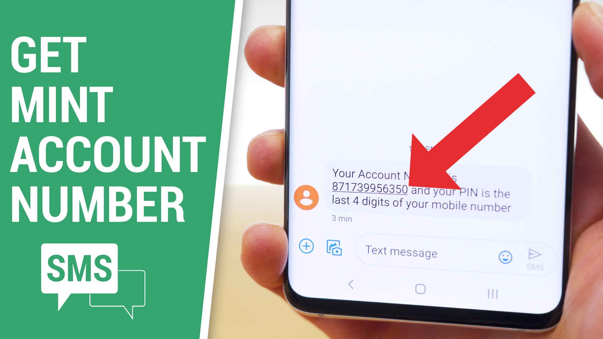 red arrow pointing to text message on phone containing Mint Mobile account number
