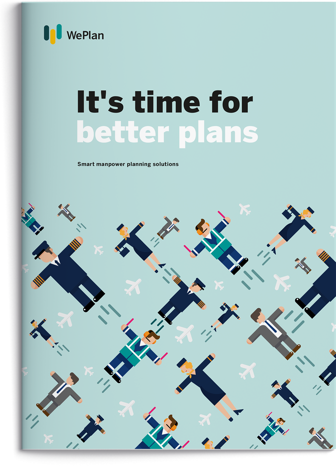 A mockup, showcasing the printed brochure of WePlan with more detail information.