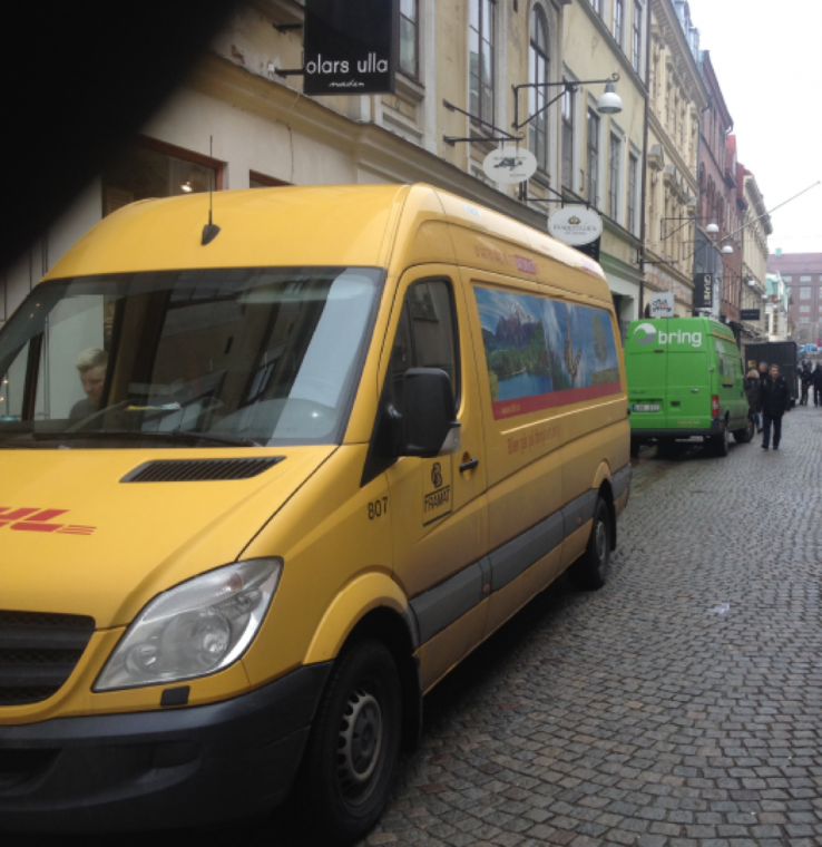 Delivery vans on Vallgatan, Gothenburg