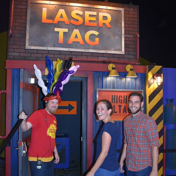 couple entering laser tag arena at Big Thrill Factory
