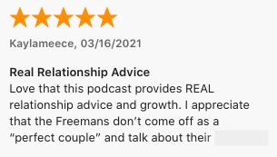 "Podcast testimony: ""Real Relationship Advice"""