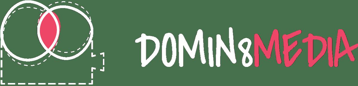domin8 designs logo in white