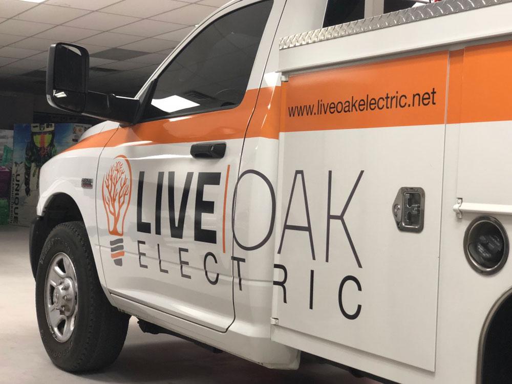 Live Oak Electric truck wrap