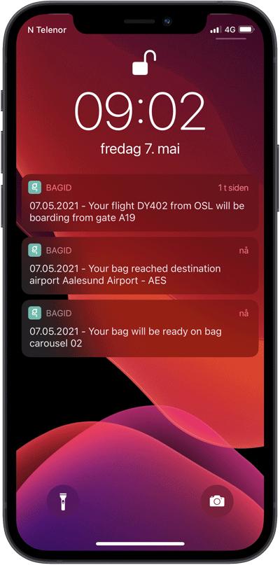 Et bilde av hvordan det ser ut når du får smarte varslinger i BagID-appen