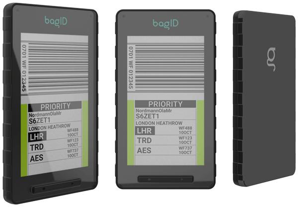 Detaljbilde av bagID GO med bagasjeinfo godt synlig