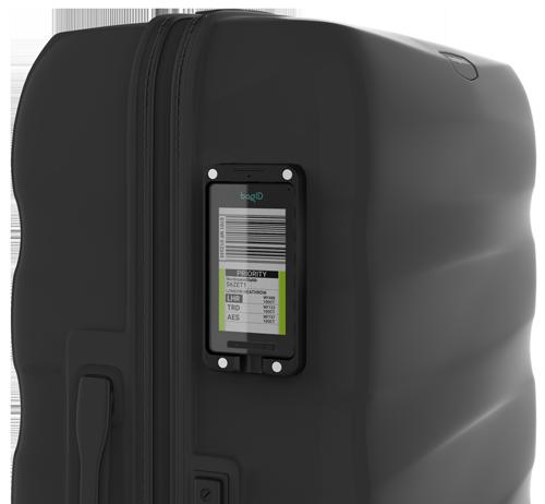 En koffert med den digitale bagasjelappen bagID GO