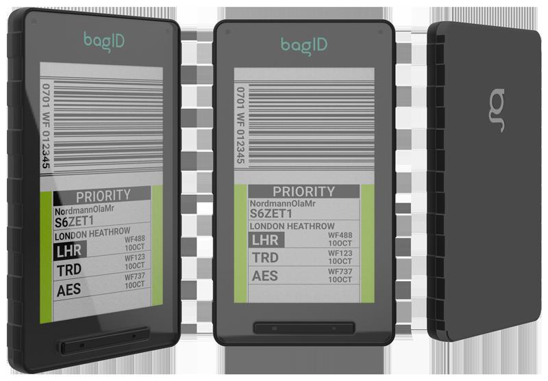 bagID GO sett fra tre vinkler, med bagasjeinfo godt synlig på displayet