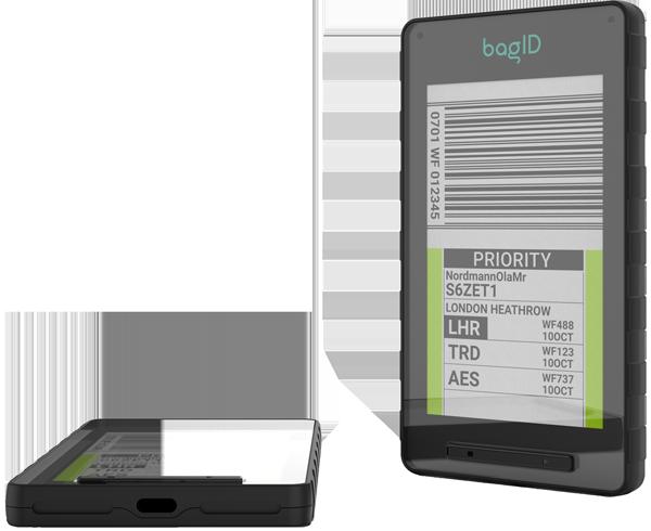 Detaljbilde av to bagID Gos hvor man tydelig kan se bagasjeinfoen på skjermen