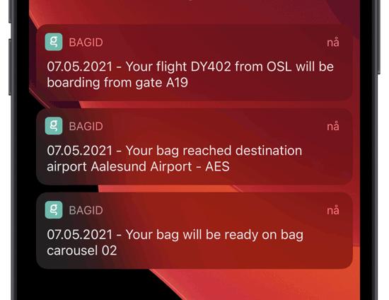 Smarte varslinger og flytider og bagasje på en mobilskjerm