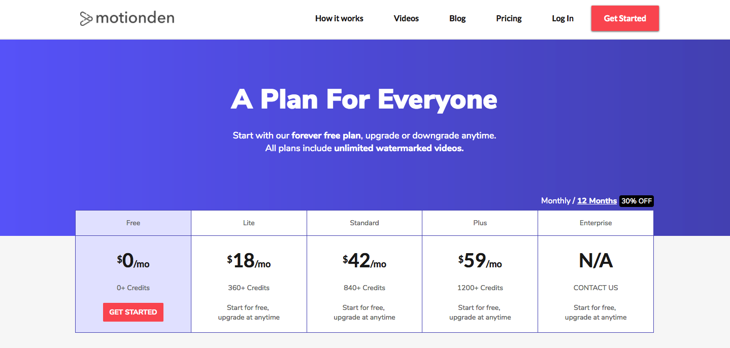 motionden pricing plans