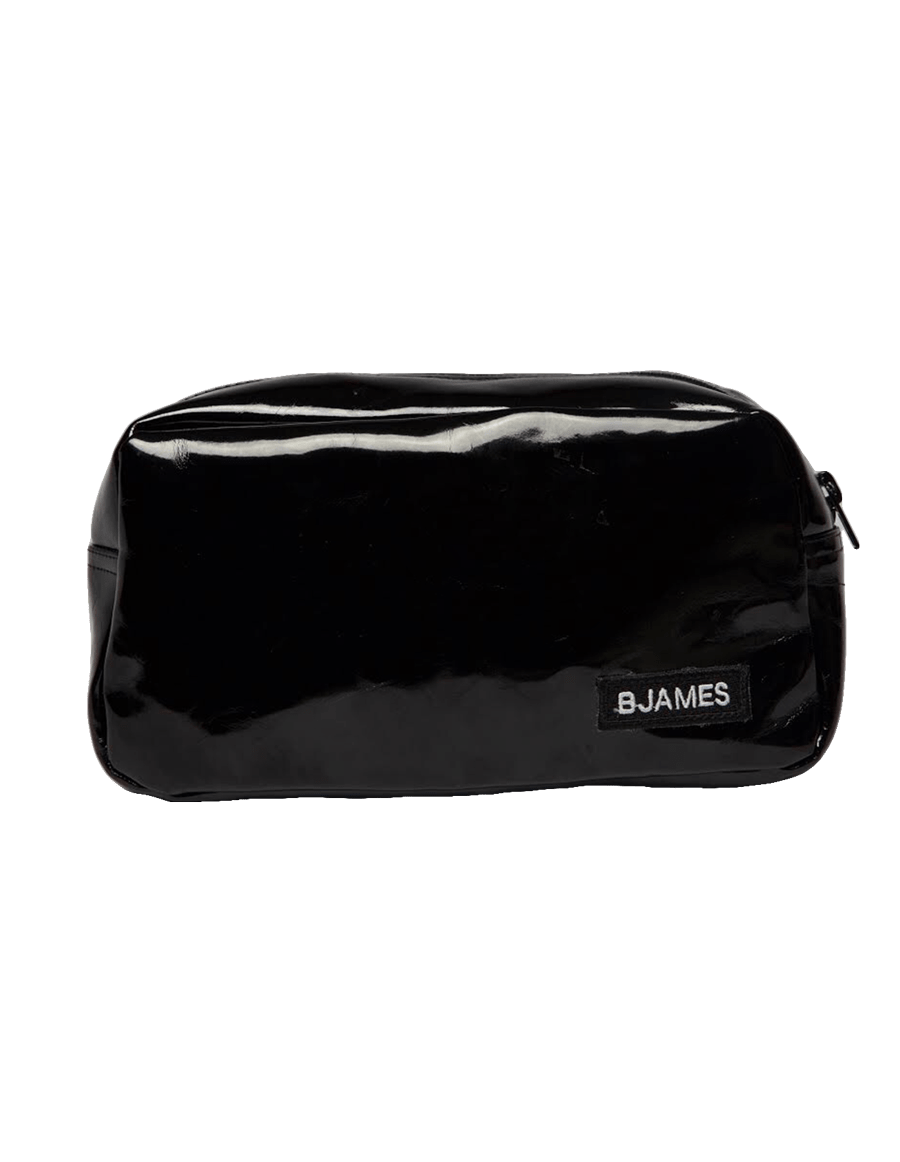 Vinyl fanny pack with black zipper for closure.