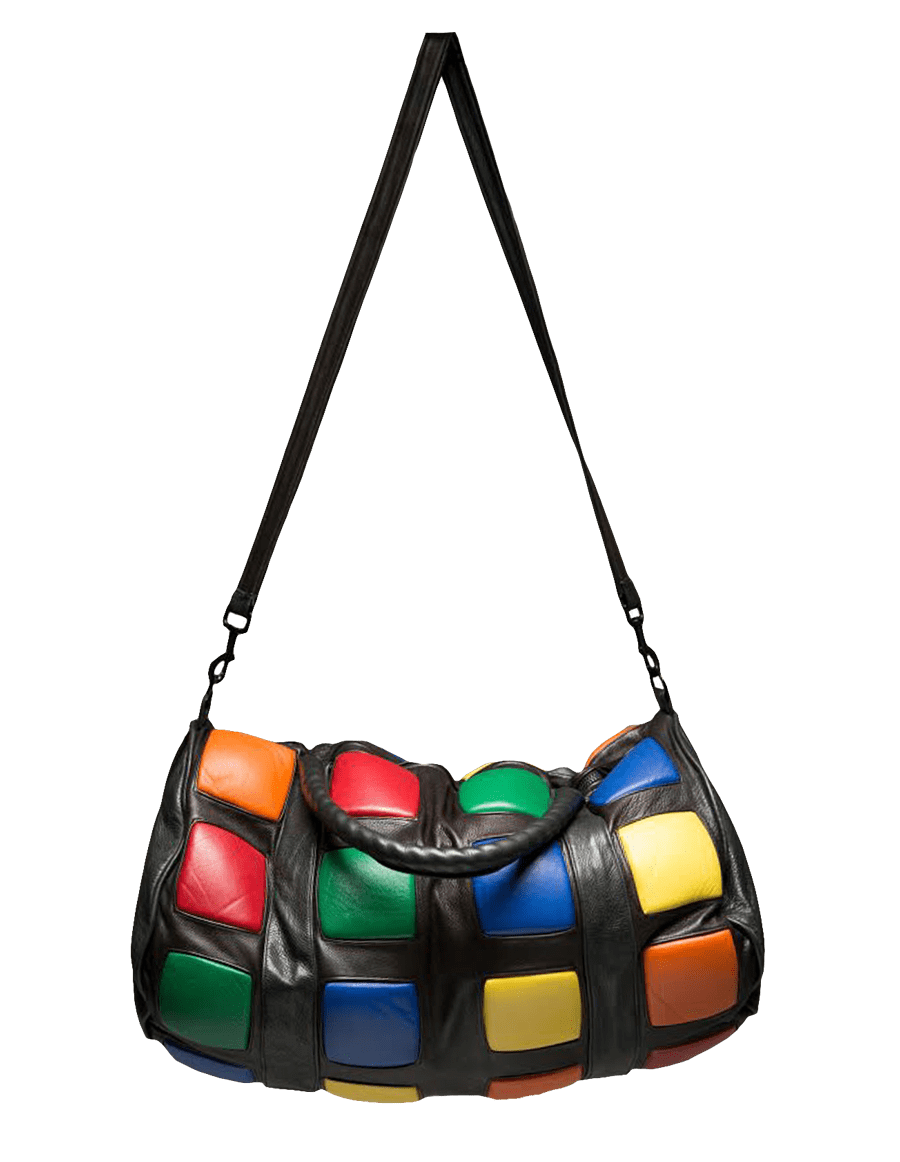 Rubik's Cube inspired Italian leather duffle with multi-colored lambskin leather cubes and matte black RIRI zipper for closure.