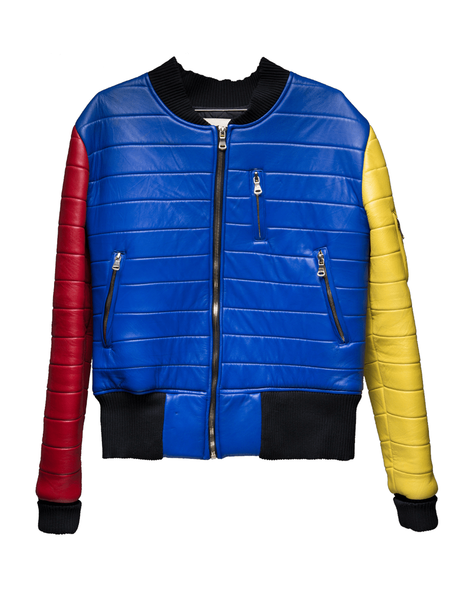 Multi-colored soft lambskin bomber jacket with quilted lining and gold metal zippers.