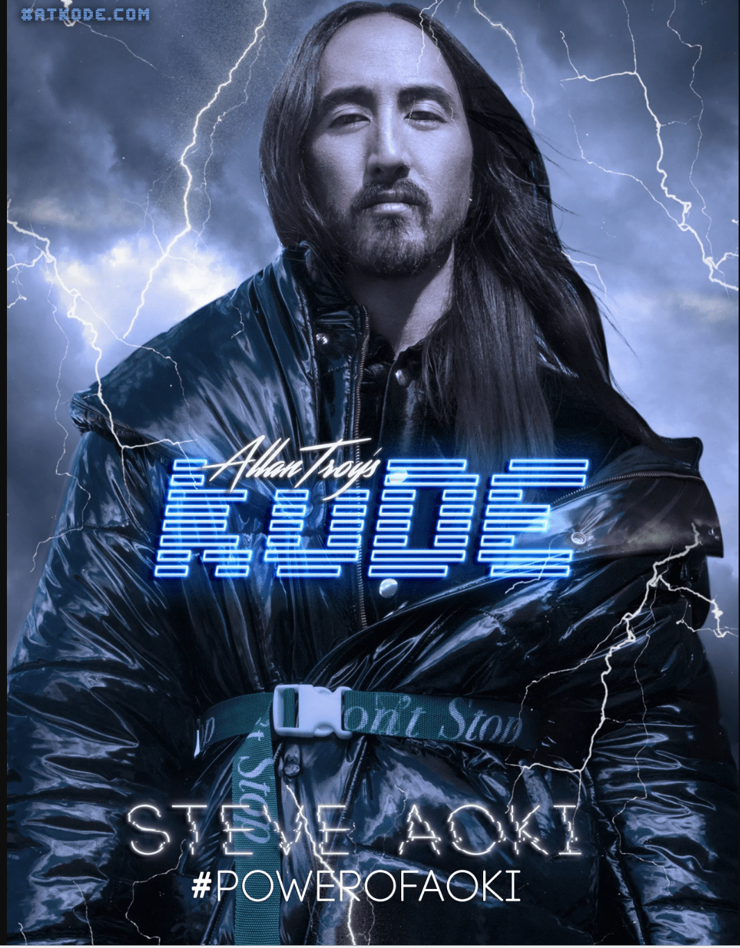 Steve Aoki in Big Ass Black Coat