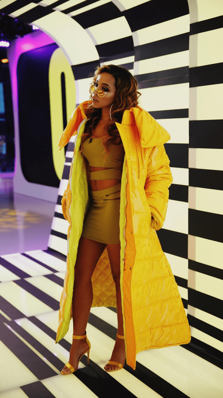 Tinashe in Big Ass Yellow Coat