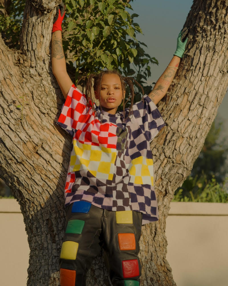 Kodie Shane in Rubiks Cube Leather Pants