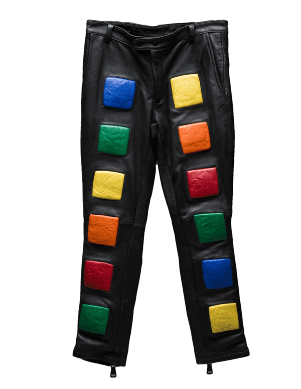 Rubik's Cube inspired Italian leather pant with multi-colored lambskin leather cubes and matte black RIRI zipper for closure and front & back pockets.