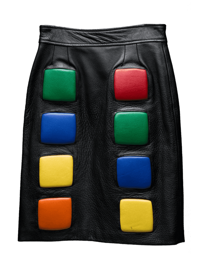 Rubik's Cube inspired Italian leather skirt with multi-colored lambskin leather cubes and matte black RIRI zipper in back.