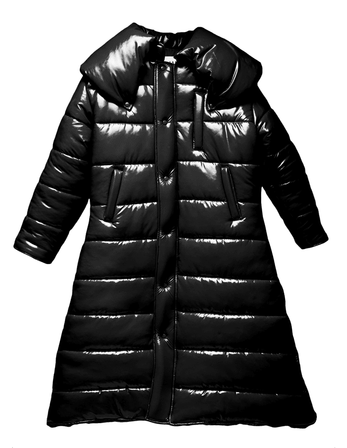 Medium Vinyl Long body hooded jacket with soft quilted lining, full body zipper and pockets.