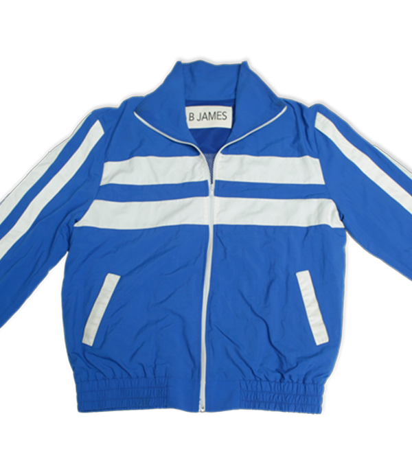 "Blue 100% cotton tracksuit. Includes blue ""Dedication Loading"" track jacket and matching 2 pocket track pants. Track Jacket includes double pockets and full front zipper."