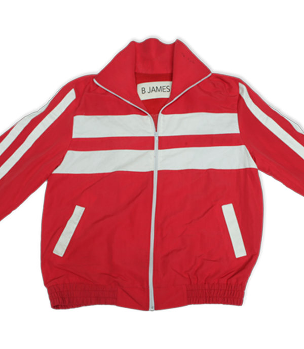 """Red 100% cotton tracksuit. Includes red """"Determination Loading"""" track jacket and matching 2 pocket track pants. Track Jacket includes double pockets and full front zipper."""