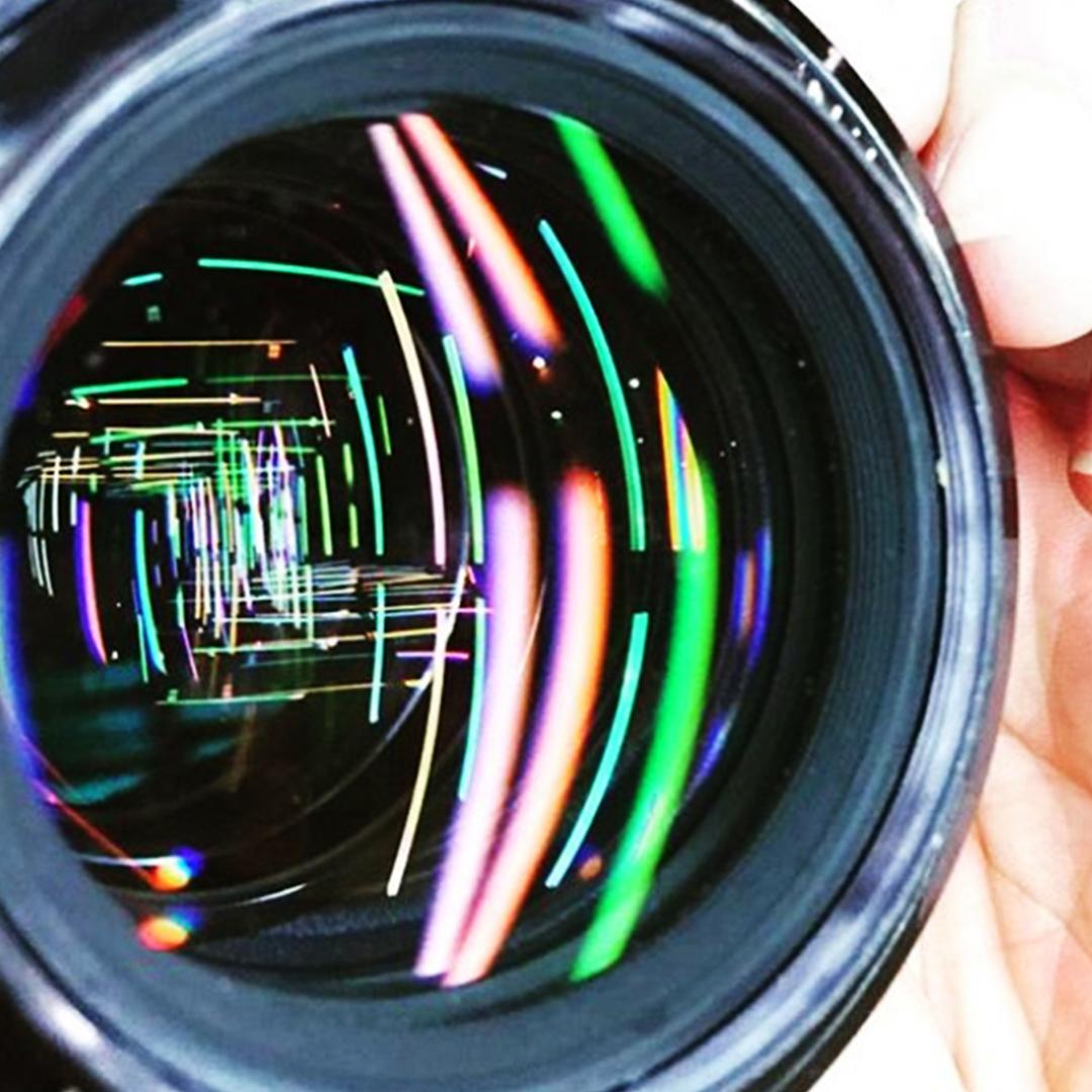 Obra tunel pelo prisma da lente fotografica
