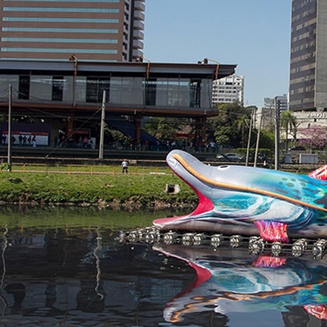 Intervenção urbana Pintado em frente a estação Pinheiros da CPTM