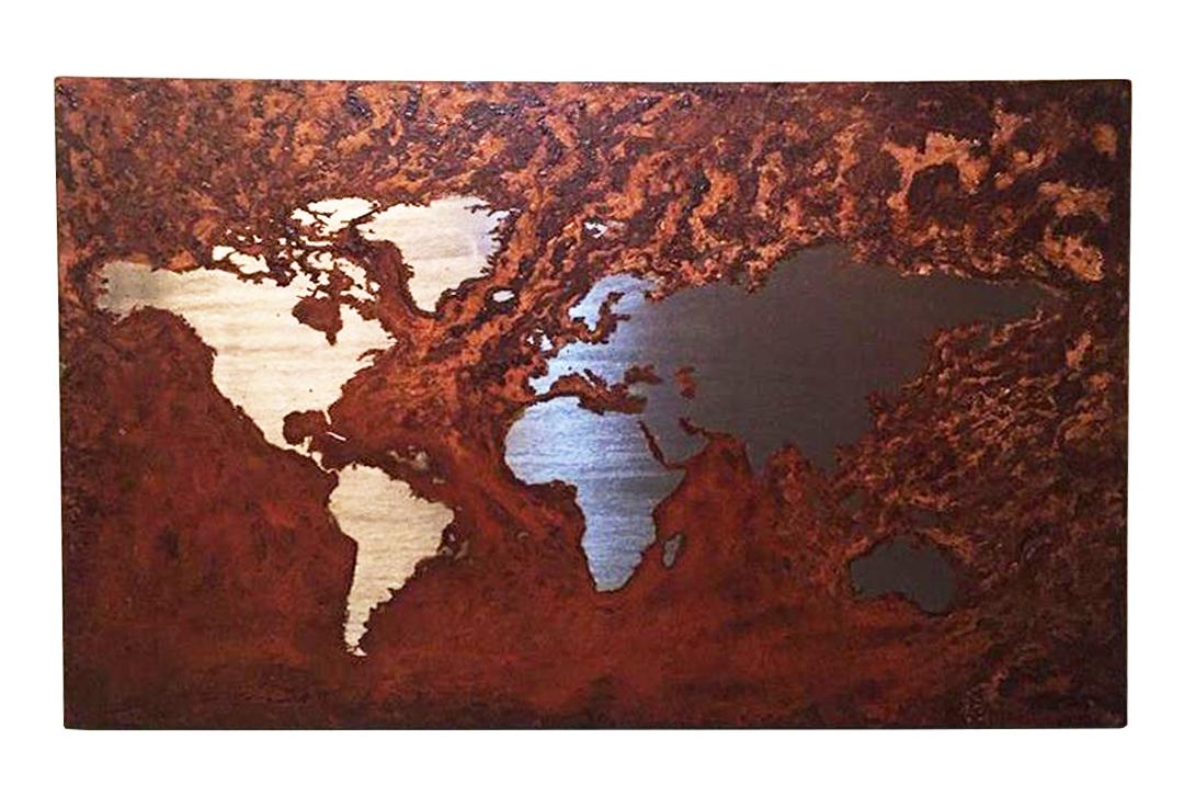 arte Mapa Mundi oxidado ferrugem Guilherme Palmerio aço carbono