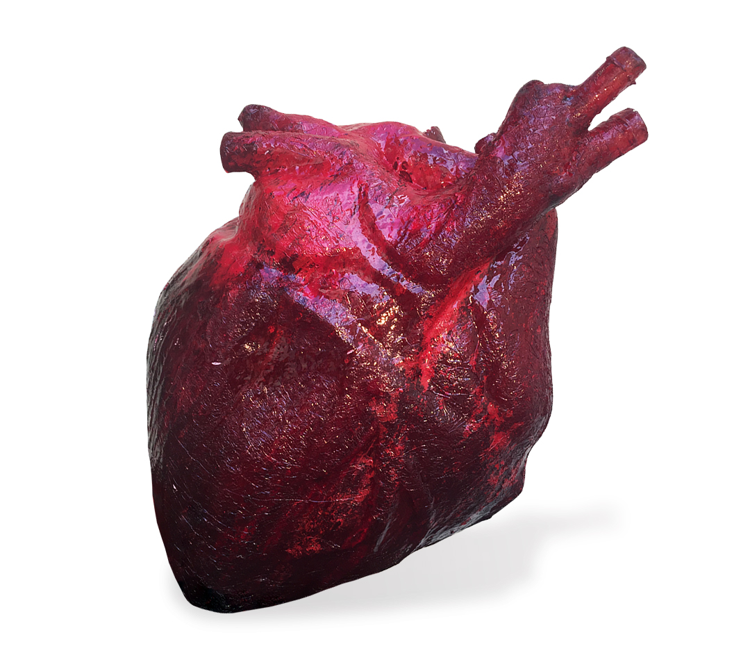 escultura coração resina cristal vermelho Guilherme Palmerio