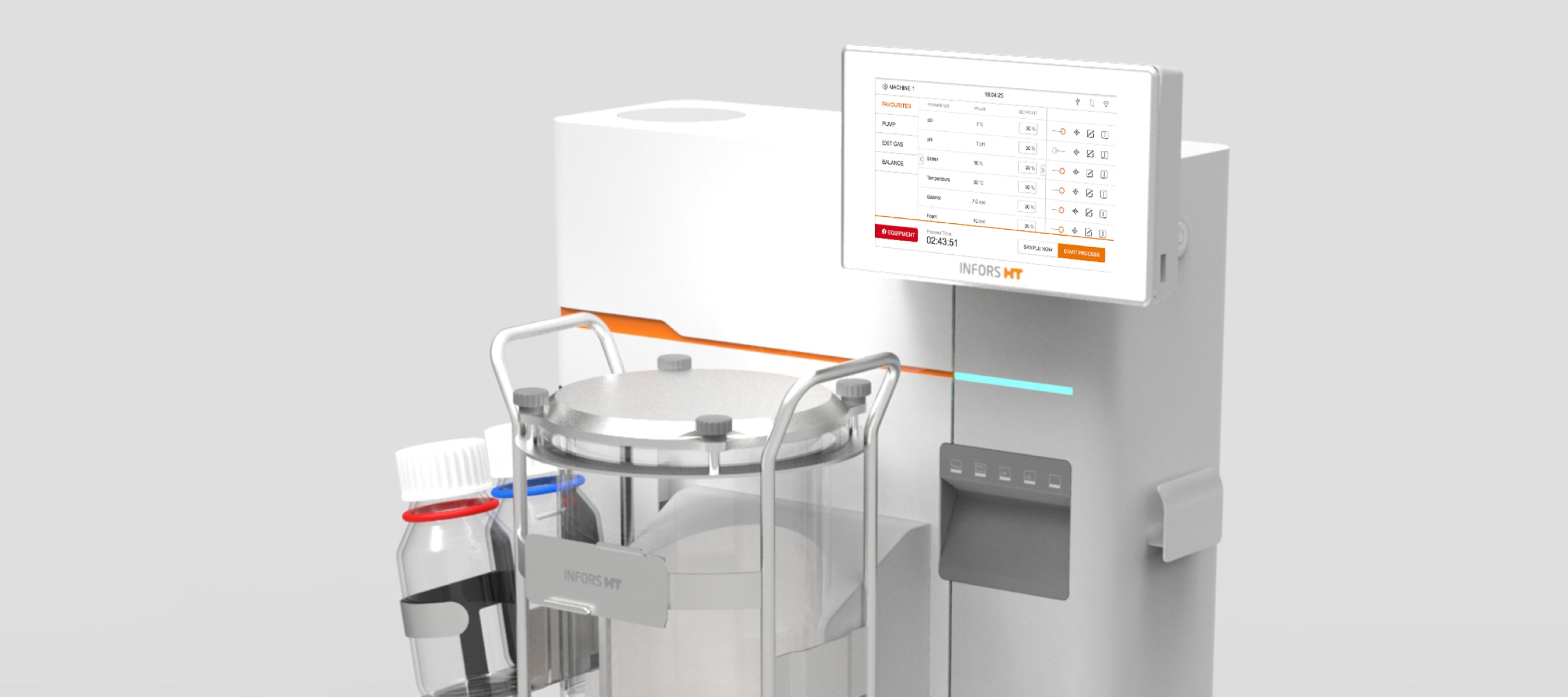 Rendering of the minifors tabletop bioreactor with the new user interface