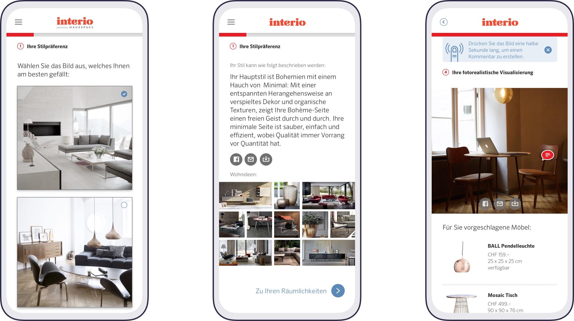 Screenshots of the interior design advisory app