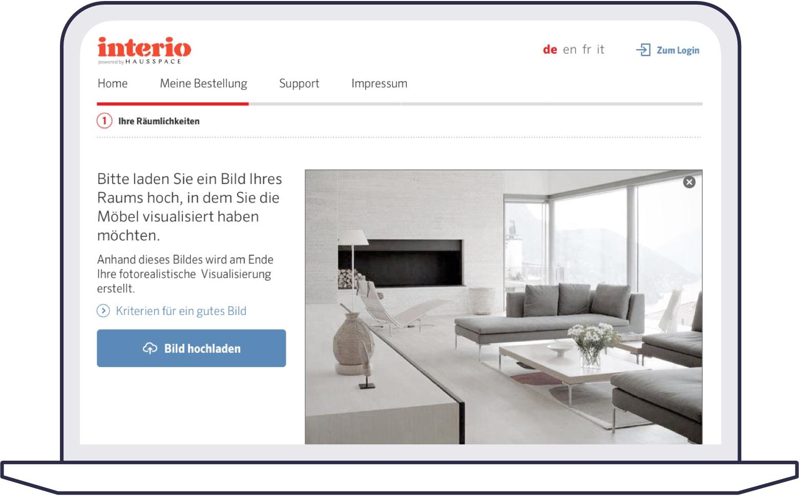 Screenshot of uploaded image of customers room
