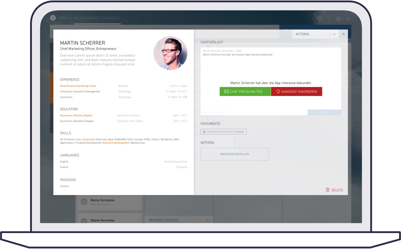 Screenshot of yooture web platform for corporates: candidate profile popup