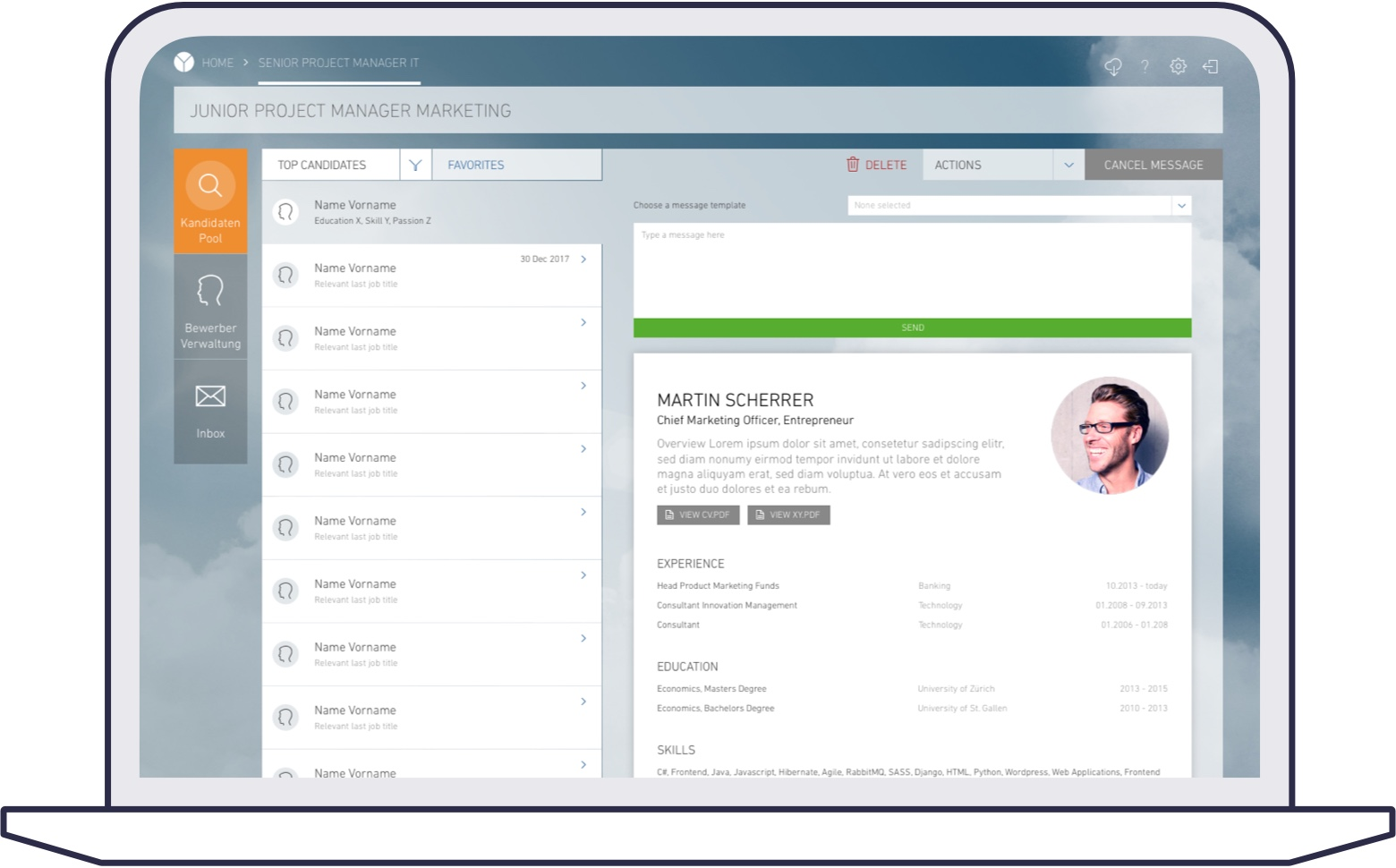Screenshot of yooture web platform for corporates: candidate profile