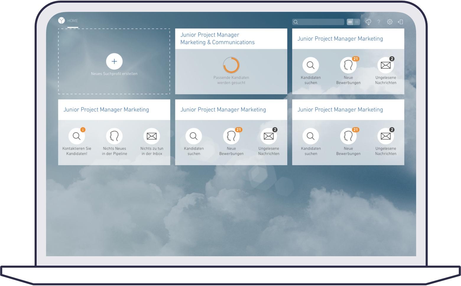 Screenshot of yooture web platform for corporates: dashboard