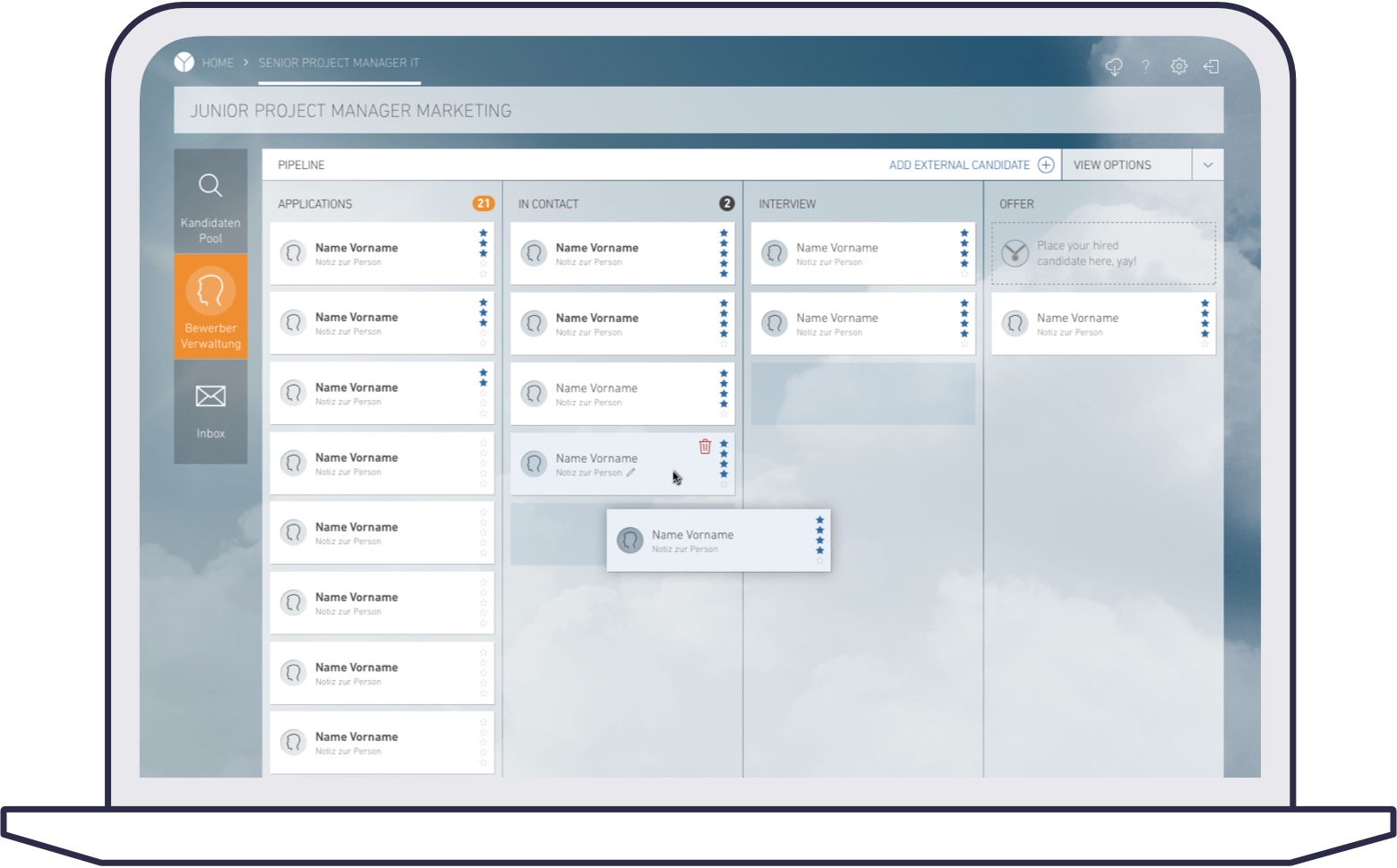 Screenshot of yooture web platform for corporates: pipeline