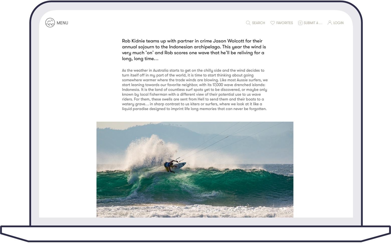 Screenshot of kitesurfin article