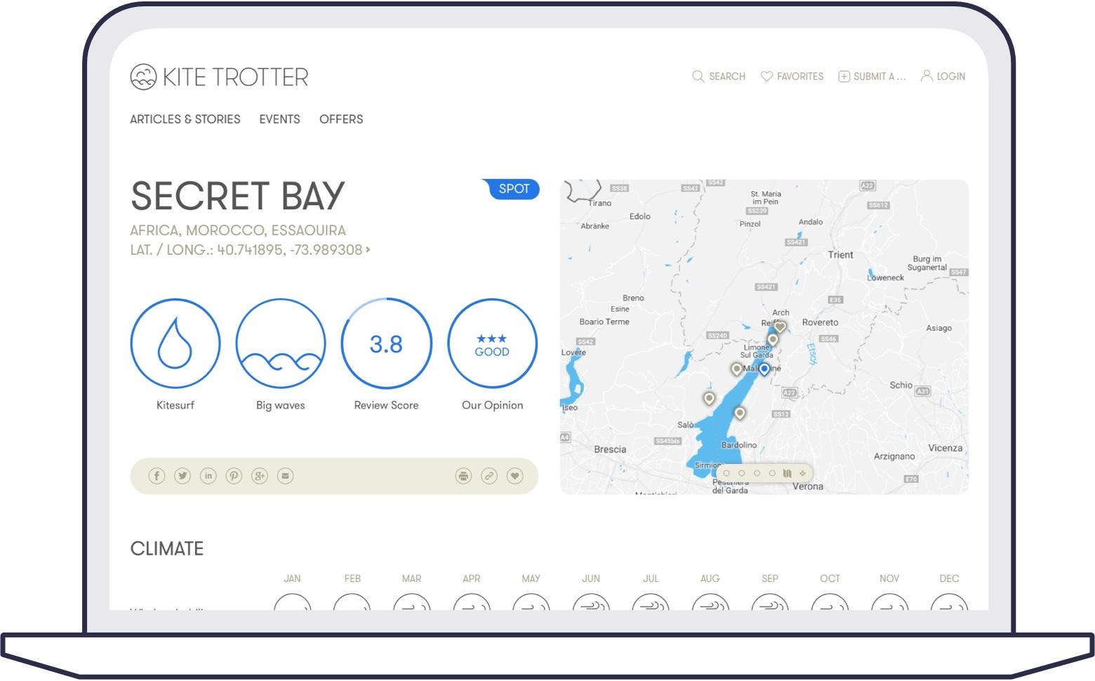 Screenshot of kitesurf spot details