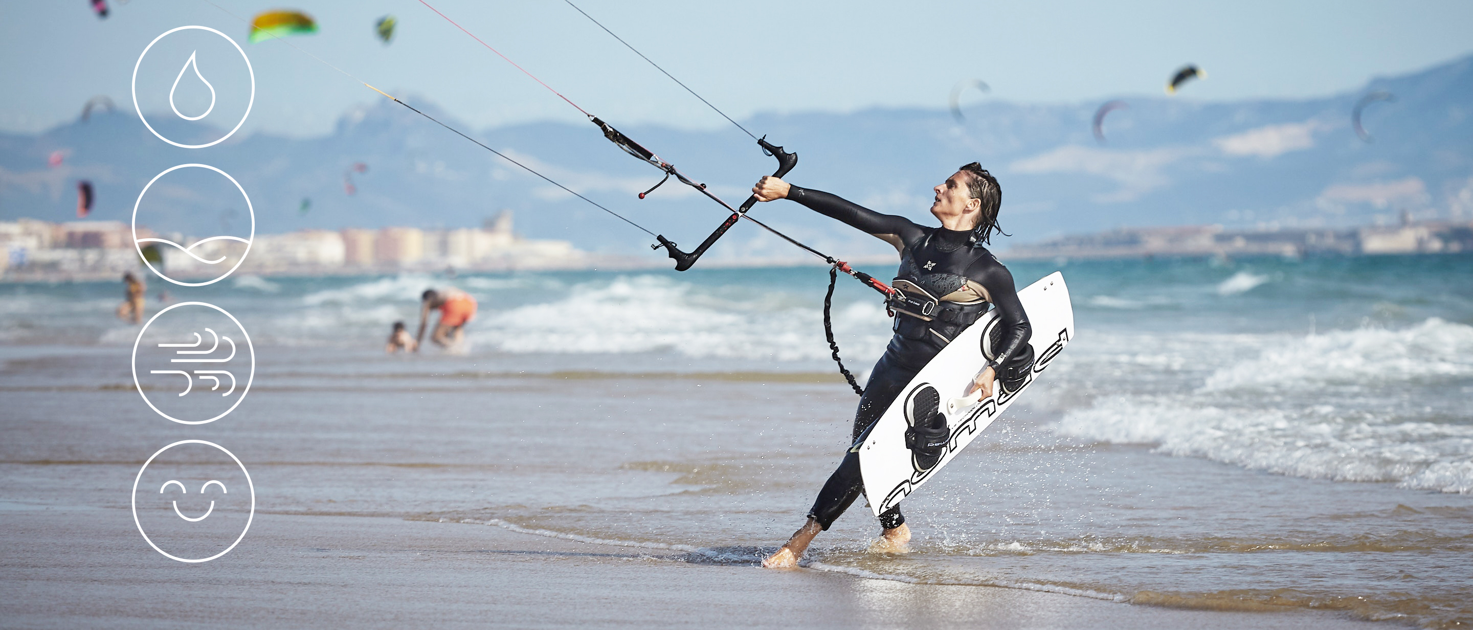 Kite surfer at the beach holding a kite and a board. Four icons overlaying the image
