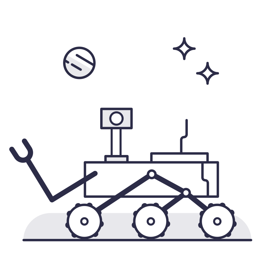 Illustration of the mars rover with stars and a planet