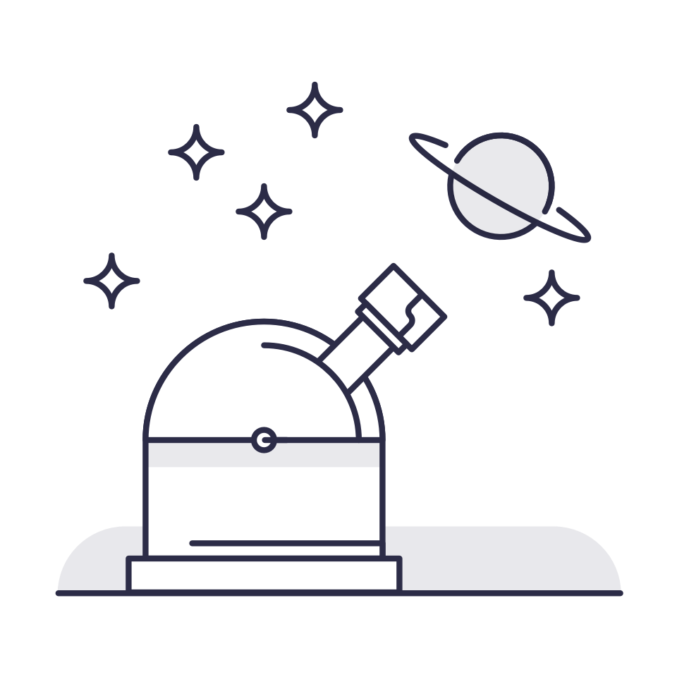 Illustration of an observatory with stars and Jupiter