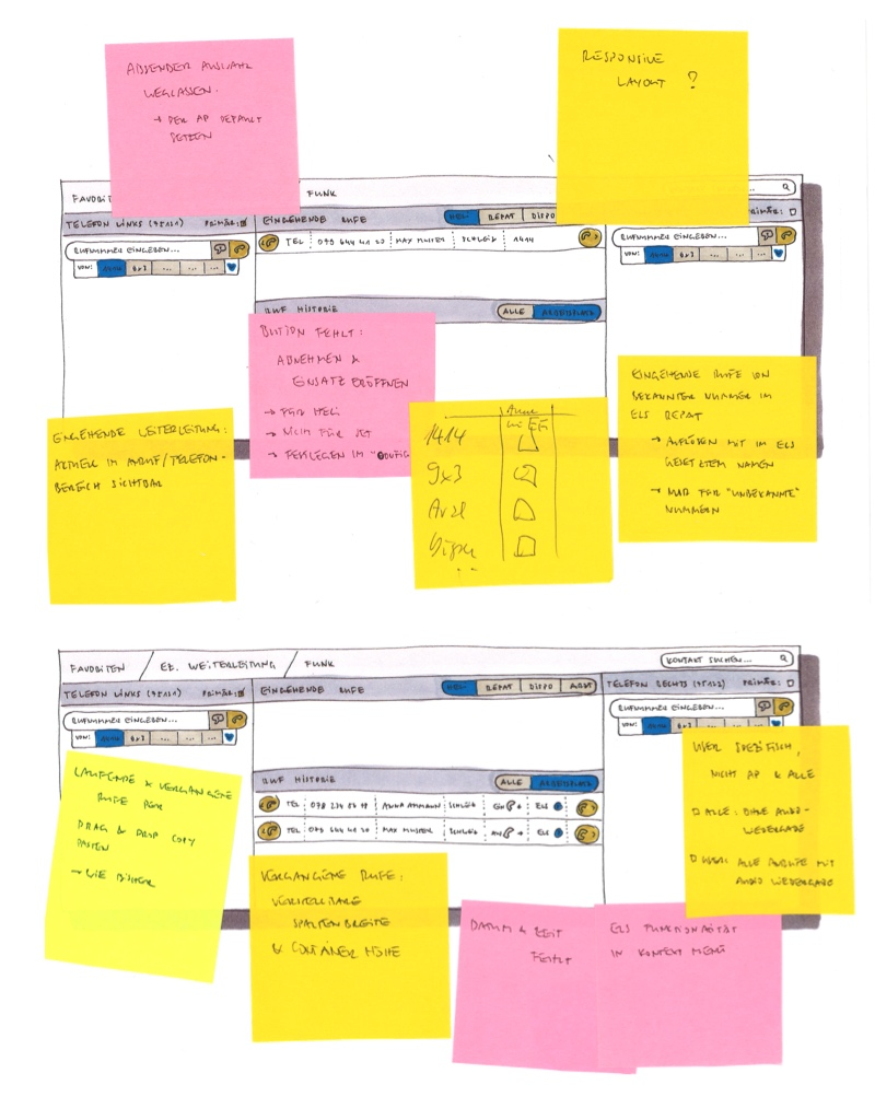 Scans of UI sketches with lots of Post-Its