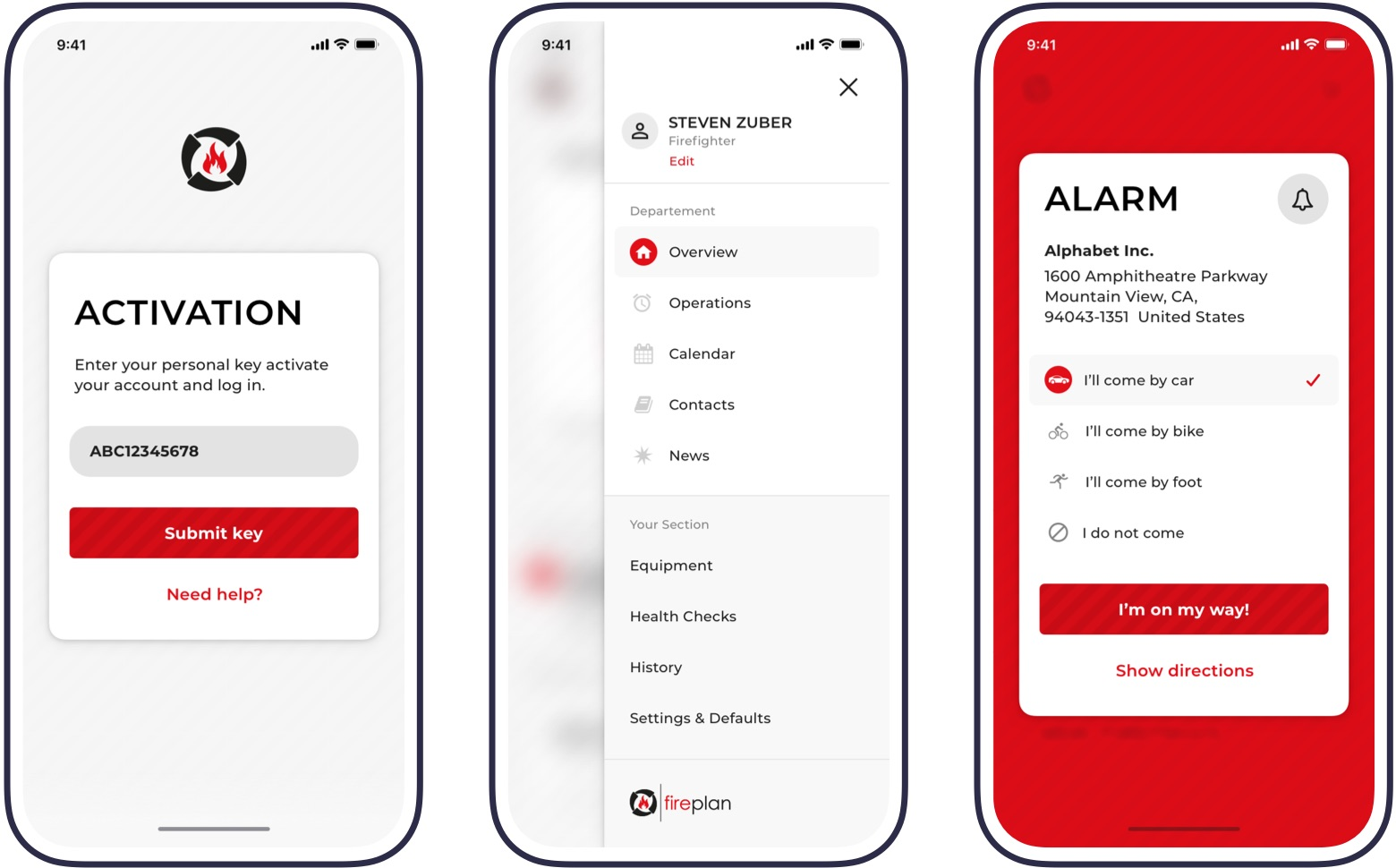 Screenshots of fireplan app: Activation key, open navigation and active alarm