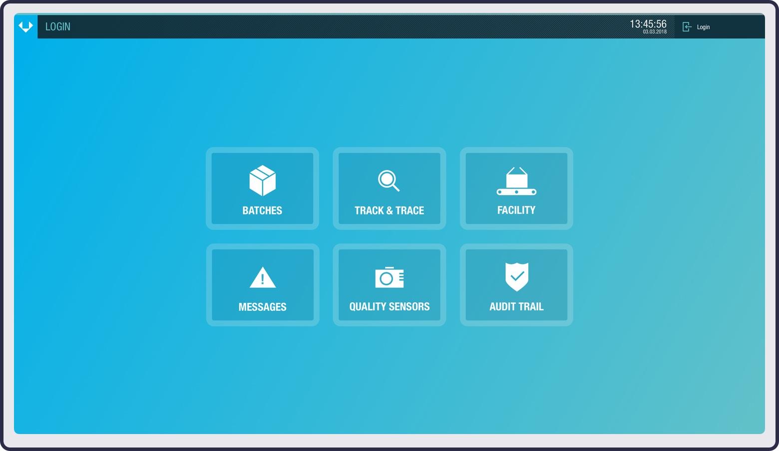 Screenshot of the control panel's main menu