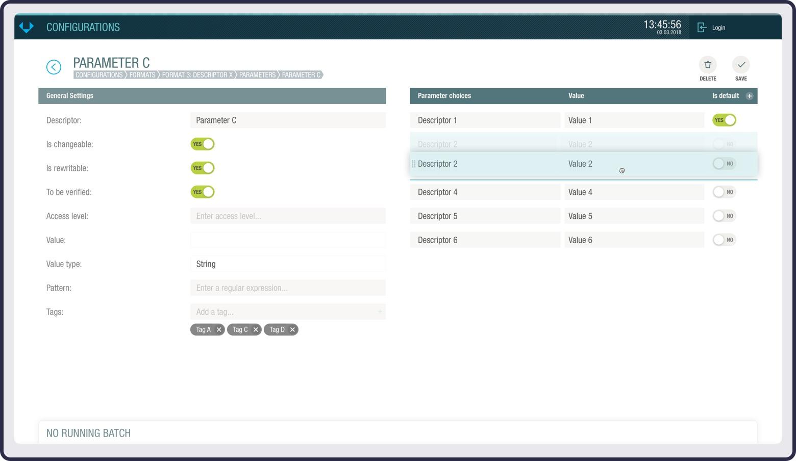 Configurator screenshot of parameter details